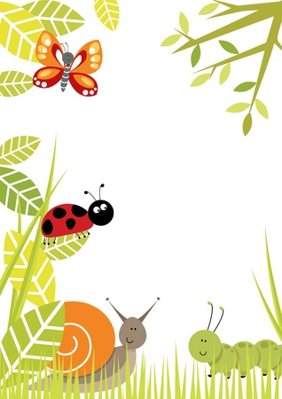 Fun border including butterfly, ladybird,snail,and caterpillar Vector