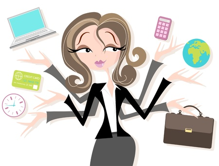 multi tasking: Pretty woman in smart suit juggling business, time, money, business, global, accounts