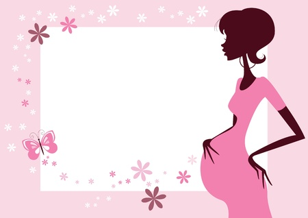 Pretty pregnant woman- Border with lots of copy space  Stock Vector - 19246345