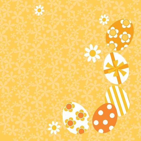 Yellow Easter Egg decorative illustration with floral background