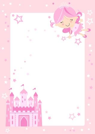 princess: Personaggio fiabesco Pretty rosa con castello delle fiabe e bordo rosa con le stelle Vettoriali