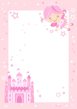 Pretty pink fairy character with fairytale castle and pink border with stars  Vector