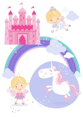 fairy princess: One pretty fairy princess with wand, one flying fairy, a winged unicorn, rainbow, fluffy clouds and a fairy castle in the sky