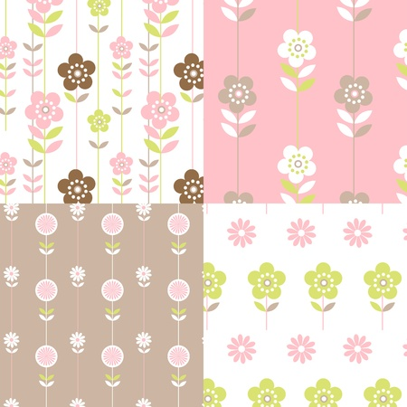 4 floral retro seamless patterns in pretty pink, lime and coffee colours