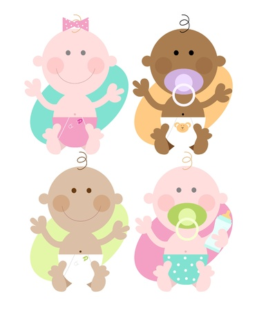 Multi ethnic babies- cute colourful characters