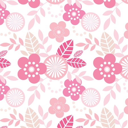 Cool pink repeating floral pattern Illustration
