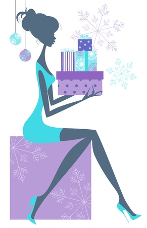 Elegant woman sitting with pile of presents in hands  Silhouette in purple and turquoise
