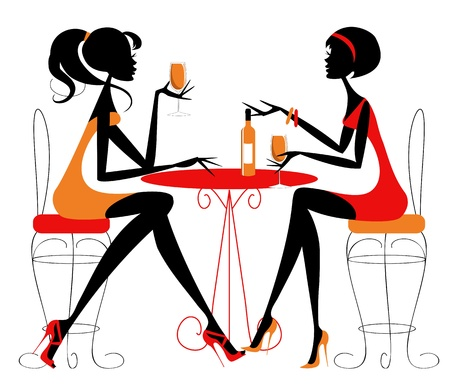 Two female friends chatting over a bottle of wine  Vector