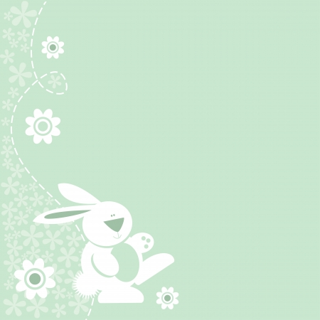 Fun bunny rabbit motif icon on pretty floral border background - baby, Easter, Spring, etc, or just a cute border  Vector