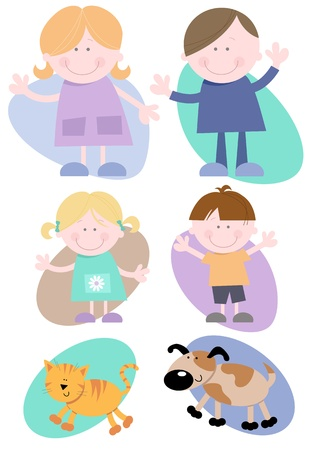 Illustrations - Cheerful Family characters set of six including  Mother, Father, Daughter, Son, Cat, and Dog