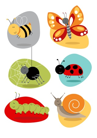 Cartoon bugs and insect illustrations including bee, butterfly, spider, snail, spider, caterpillar, ladybird