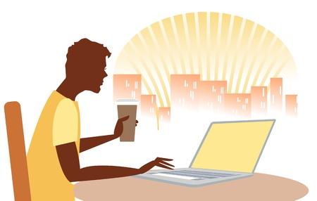 cafe internet: Hombre que controla el internet en un caf� de la ma�ana, posiblemente en el caf� internet, con el port�til, y el horizonte de la ciudad de fondo