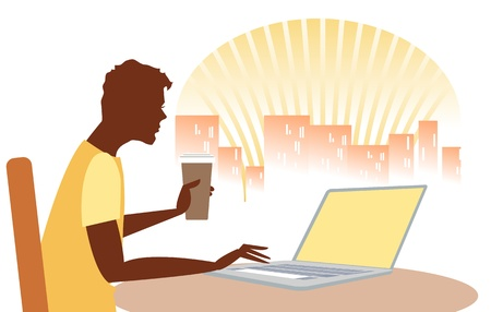 Man checking out the internet over a morning coffee, possibly in internet cafe, with laptop, and city skyline in background Vector
