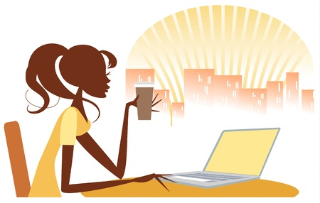 Woman checking out the internet over a morning coffee, possibly in internet cafe, with laptop, and city skyline in background Vector
