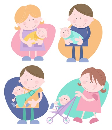 Set of four individual cute characters - Mother holding baby, Father holding baby, Woman pushing stroller, Man with baby in sling  Vector