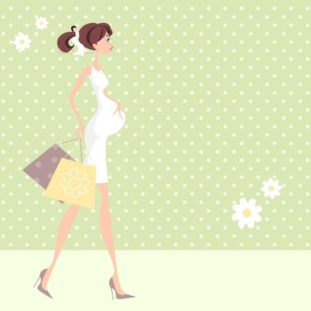 werkende moeder: Pretty Mum Mam wellicht te worden met boodschappentassen, het doen van de baby winkelen Stock Illustratie