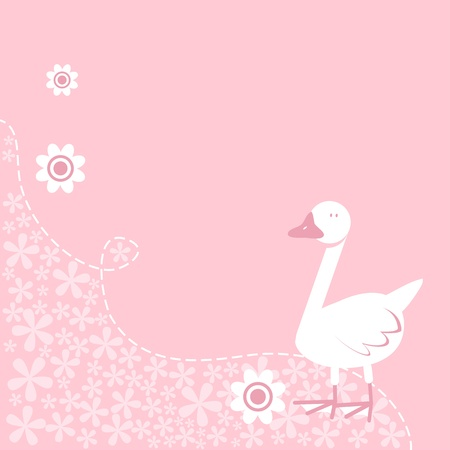 Cute pastel coloured nursery rhyme type goose on floral background Vector