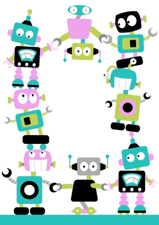 Cute and colourful robots linking together in a border with loads of space for your message or poster