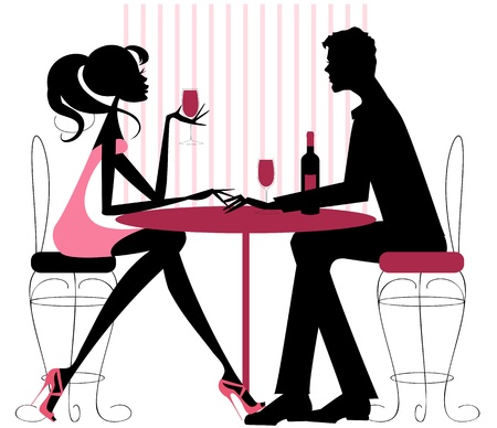 femme noire nue: Silhouette dans les roses et quelques black-romantique assis dans le restaurant-partager une bouteille de vin Valentine, fian�ailles, ou juste une date Illustration