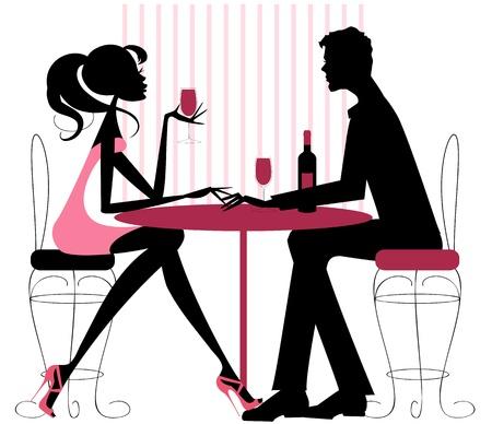 mujer desnuda sentada: Silueta en rosas y par negro-rom�ntica, sentado en el restaurante de compartir una botella de vino de San Valent�n, compromiso, o simplemente una fecha Vectores