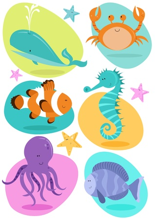 Set of six fun character sea creatures including crab, octopus, seahorse, clownfish, whale, tropical fish
