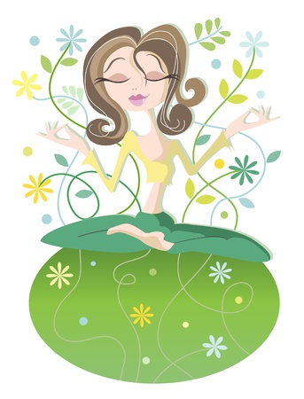 Serene woman in yoga position in harmony with the earth  Illustration