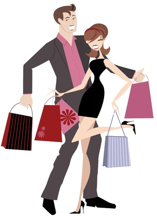 Chic couple on a spending spree with money to burn  Vector