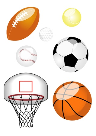 Set of six sports balls including American football, tennis\ ball, baseball, football, basketball, and basketball net