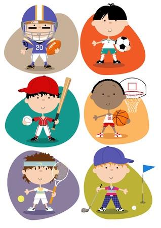 deportes caricatura: Juego de seis hombres lindos divertidos personajes deportivos - American futbolista, futbolista del f�tbol, ??jugador de b�isbol, jugador de baloncesto, jugador de tenis, jugador de golf