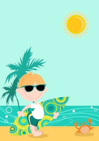 Cute kid  male  with surfboard under arm with beach and palm trees behind  Vector
