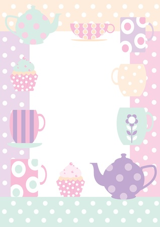 Border with teacups, cupcakes,and teapots all in polka dot pastels for a useful background, poster or invitation  Vector