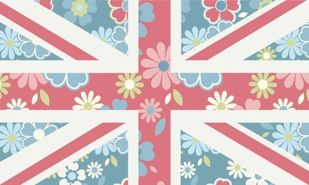 A feminine version of the union jack with floral pattern