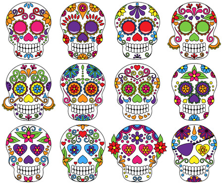 Vector Set of Day of the Dead or Sugar Skulls  Illustration