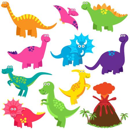 dinosaurio caricatura: Vector Colecci�n de lindos dinosaurios de dibujos animados y un volc�n