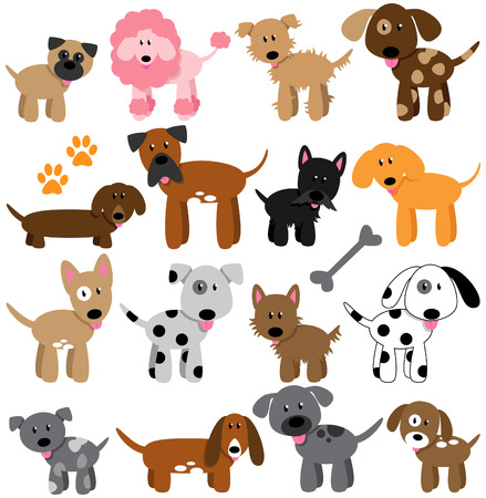 beagle terrier: Vector Collection of Cute Cartoon Dogs