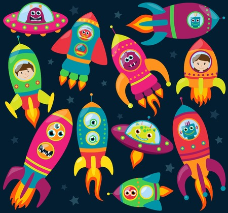 Vector Collection of Retro Style Rocketships and Spaceships with Aliens, Robots and Astronauts  Vector