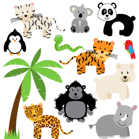 Vector Collection of Cute Zoo, Jungle or Wild Animals  Vector