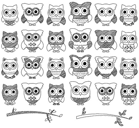 Doodle Style Set of Cute Owls and Branches  Illustration