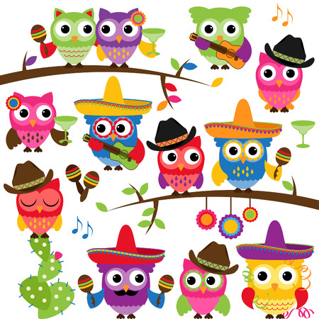 Cinco de Mayo Themed Collection of Owls and Branches  Vector