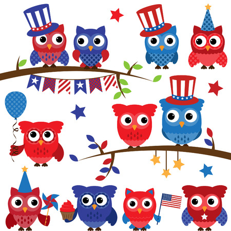 owl cute: Set of Fourth of July or Patriotic Owls and Branches