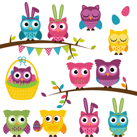 Collection of Easter and Spring Themed Owls  Vector