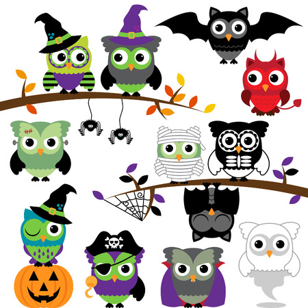 Collection of Spooky Halloween Owls  Vector