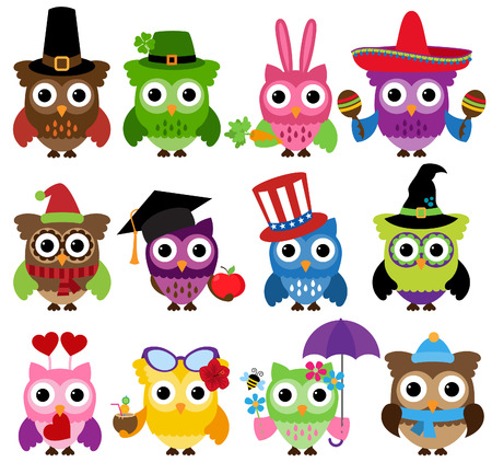 Set of Cute Holiday and Seasonal Owls  Vector
