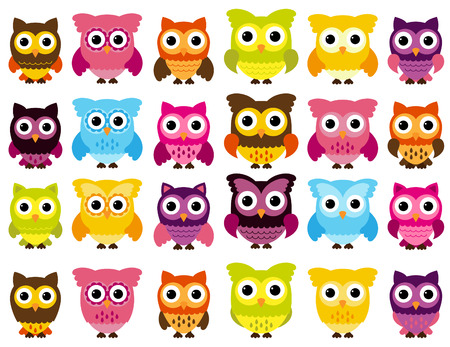 Collection of Cute Owls Vector