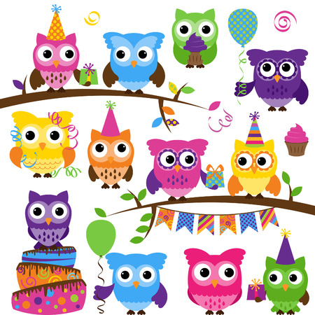 Collection of Party or Celebration Themed Owls  Vector