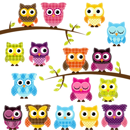 Set of Patchwork Or Quilt Style Owls and Branches Vector