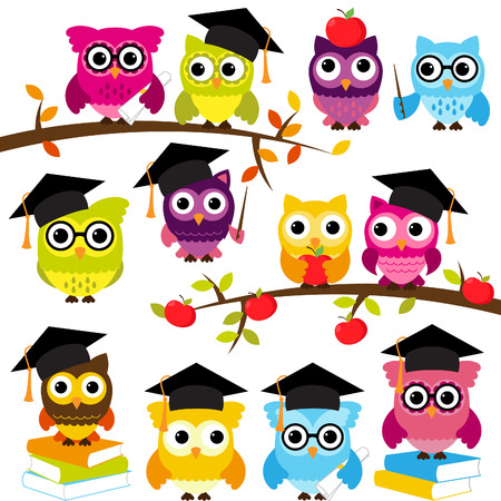 elementary school: Collection of School or Graduation Themed Owls  Illustration