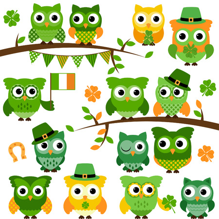 Grote collectie van St Patrick's Day Themed Uilen Stock Illustratie