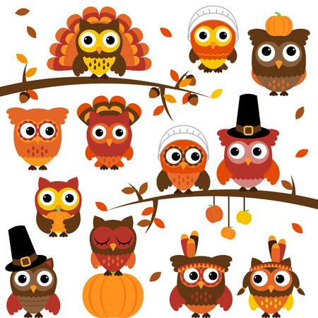 枝との感謝祭や秋のテーマ フクロウ コレクション  イラスト・ベクター素材