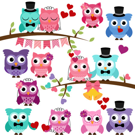 Set of Wedding Themed Owls and Branches